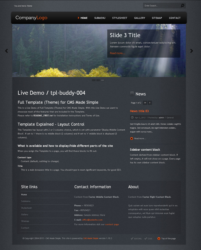 premium templates themes for cms made simple